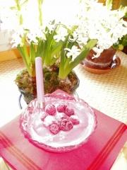 tofu soyeux,eau de rose,sirop d'agave