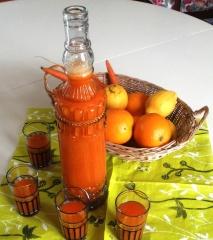jus de carottes,orange pressées,eau de fleur d'oranger,maroc