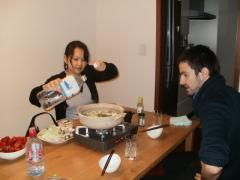 dashi,Dori,blancs de poulet,choux chinois, épinards,Kinoko, tofu soyeux,nouilles de riz,soba